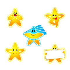 Emotion, banner and super hero star stickers isolated