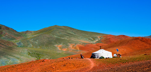 Mongolian yurt in the mountains