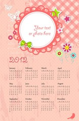 Vector calendar with place for photo