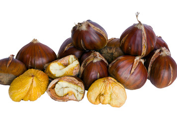 Roasted chestnuts isolated on white