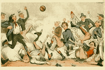 Football game in bygone days