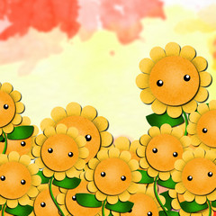 cute sunflowers cartoon with nice background, paper craft.