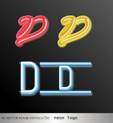 Fototapeta ai Vector image: initials (D) neon logo obraz