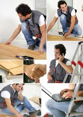 Montage of a worker laying floor