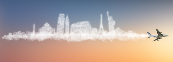 Wall Mural - Travel the world clouds concept