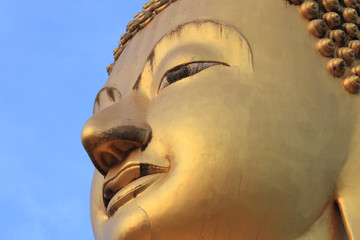 face in the image of Buddha