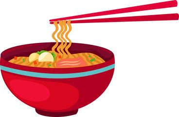 Noodles food with chopsticks