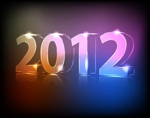 Neon 2012 year vector illustration
