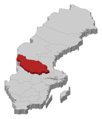 Map of Sweden, Dalarna County highlighted