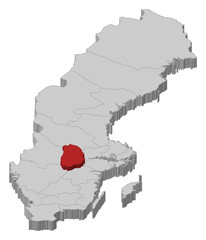 Map of Sweden, Örebro County highlighted