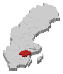 Map of Sweden, Östergötland County highlighted