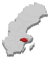 Map of Sweden, Södermanland County highlighted