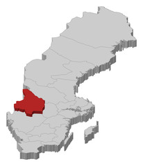 Map of Sweden, Värmland County highlighted