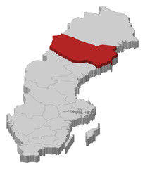 Map of Sweden, Västerbotten County highlighted