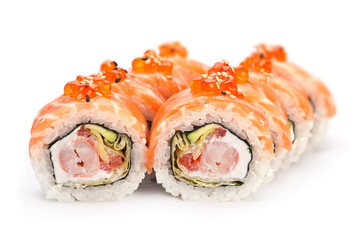 Roll with red fish and caviar
