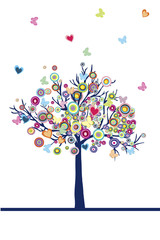 Abstract colored tree with hearts, circles and butterflies