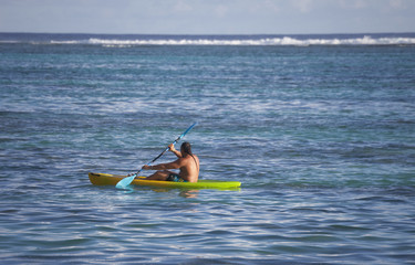 Lagoon with Man Sea Kayaking