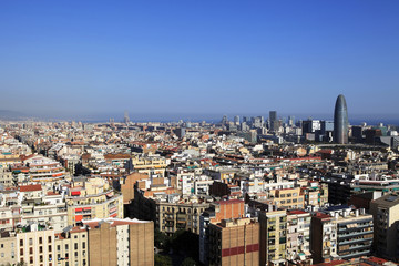 Aerial view of  Barcelona from the tower of the Sagrada Familia