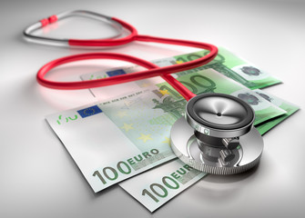 Stethoskop mit 100 Euro Scheinen