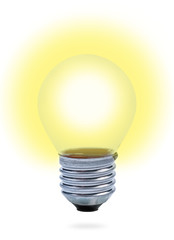 Light bulb with yellow light  on white background.