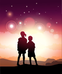 Kids Looking At The Stars