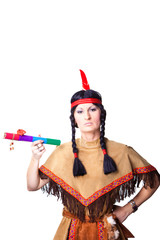 woman wearing indian costume with pipe of peace