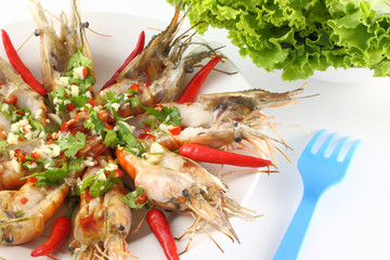 Part of spicy dressed salad prawn and salad.