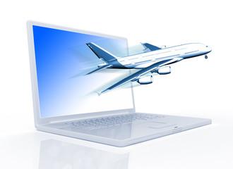 plane  laptop monitor.