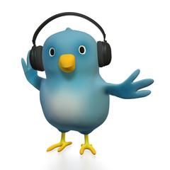 Bluebird with headphones