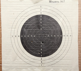 target with holes from bullets