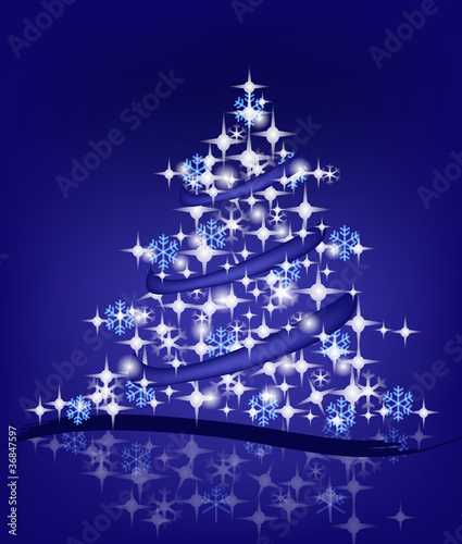 Immagini Di Natale Con La Neve.Albero Di Natale Con Fiocchi Di Neve E Luci Stock Image And
