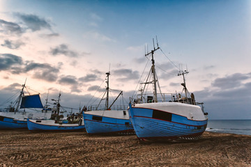 Fishing boats at the beach of Thorup, Denmark