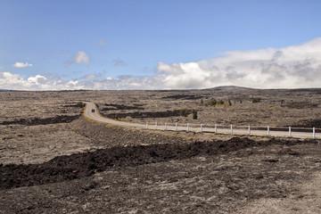 driving through lava fields