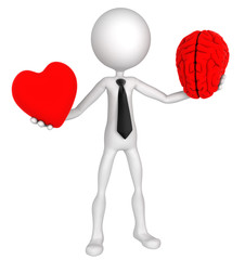 Difficult choice. Businessman balance Heart And Mind