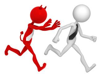 Businessman running away from Businessdevil