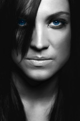 black and white face of beauty blue eyes woman girl