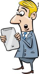startled businessman with tablet