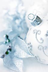 Closeup of beautiful silver christmas decoration