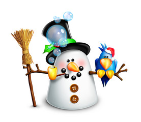 Whimsical Cartoon Snowman with Blue Bird