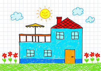 Drawing of blue house