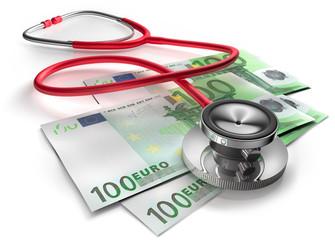 Stethoskop mit 100 Euro Scheinen vor weiss