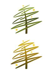 Moderner abstrakter Weihnachtsbaum in Grün und Gold