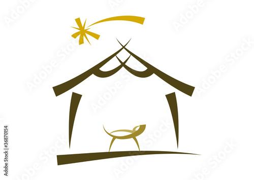 einfache symbol zeichnung einer weihnachtskrippe. Black Bedroom Furniture Sets. Home Design Ideas