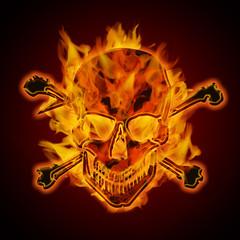 Fire Burning Flaming Metallic Skull with Crossbones
