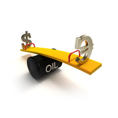 Euro and dollar signs on a seesaw of oil barrel