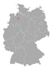 Map of Germany, Bremen highlighted