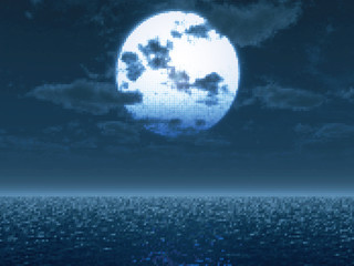 Ful moon over the sea. Vector illustration