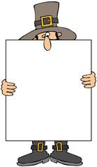 Pilgrim Holding A Blank Sign