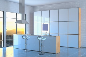 Modern Kitchen in Evening Light