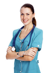 Cute female doctor or nurse